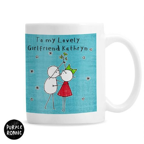 Personalised Purple Ronnie Christmas Couple Blue Mug